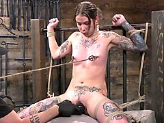 tiny tattoo-ed pain whore krysta kaos tormented in rope bond