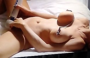 Nipple clamps on perfect boobs nipples rock hardclt alone to explode with trembling loud orgasm with hitachi magic wand