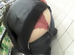 Supermarket red thong exposed