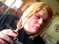 double braided blonde smoking