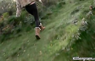 Dogging Milf cum slut Lucy Barker in the woods sucking off strangers