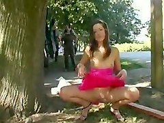 kinky titless and skinny pale brunette kinda stripped in the park