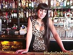 mature interracial bartender jizzed in trio
