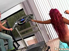 twerking redhead ebony giving good  head