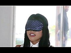 Blindfolded Asian slave gets punished by her master