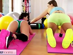 fitness rooms rampant shaved pussy lesbians have orgasmic sex workout