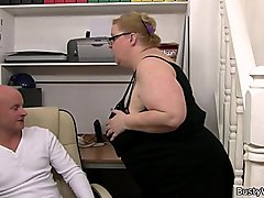 Huge boobs woman works hard on his cock