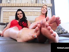 all natural kimber lee & bbw angelina castro do footjob clip