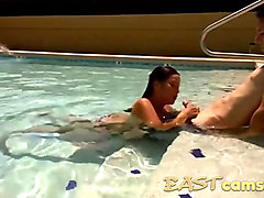 amateur asian blowjob on the pool