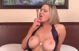Big Tit Blonde Bimbo Fucks Herself