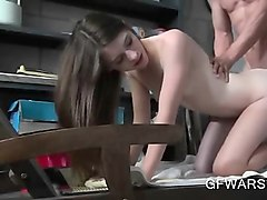 shy cute teen banged in her daddys garage