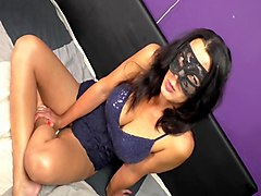 Masked girl anal fist