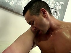 two bisexual dudes fuck each other and drill mouth and pussy of juggy whore kiki daire