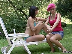 busty lesbian mom fucks blond girl with dildo