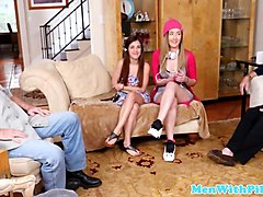 teen babes ride senior in old vs young trio