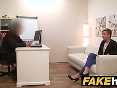 fake agent short haired tattoo babe banged hard in the offic