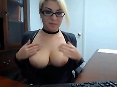 Secretary caught masturbate at work