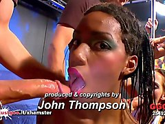ebony babe zara skinny aymie and mia bitch in huge orgy