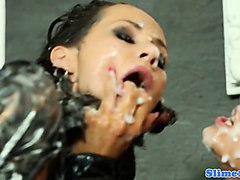 eurobabes strapon fucking and covered in cum
