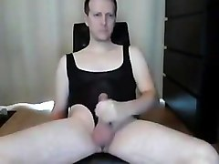 Crotchless leotard jerkoff and cumshot