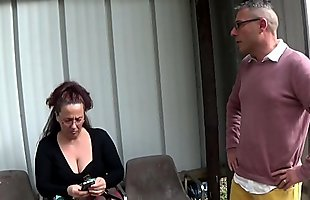 Sexy busty mom suck and fuck at the bus stop