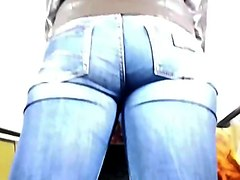 Curvy ass in tight jeans