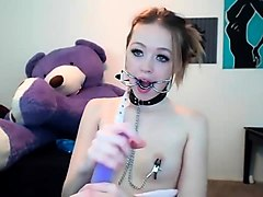 dildo + nipple clamps - watch part 2 on hornyliveteens com