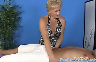 Experienced blonde slut giving a handjob