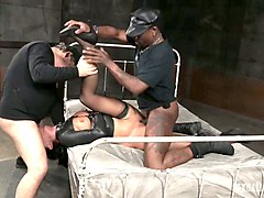 two dudes drill hard pussy and mouth of perverted bitch london river