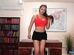 mind blowing striptease by hot seductive librarian rebecca g