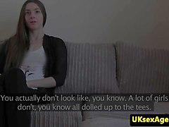 UK interview amateur facialized by sex agent
