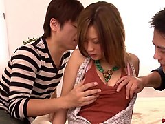 aika delights herself with two strong japanese cocks