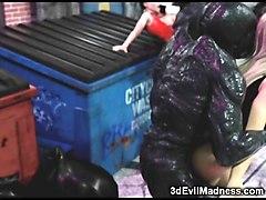 3d brutal aliens destroying girls!