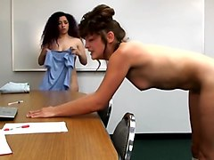 Teacher spanks voluptuous college girl