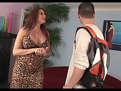 Hot dirty talking cougar takes junior hard cock