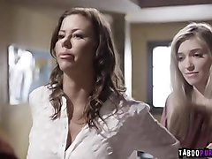 Horny teacher demands lesbian sex from her student and her mom in exchange for not expellling the student