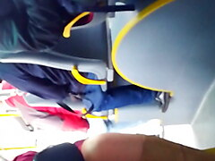 Granny open legs in polish bus
