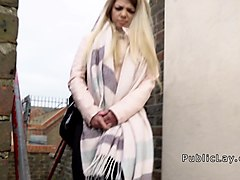 Czech blonde student bangs outdoor
