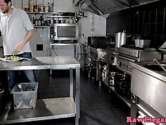 euro babe anally creamed in restaurant kitchen