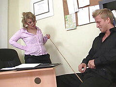 Busty office MILF boss enjoys his big cock