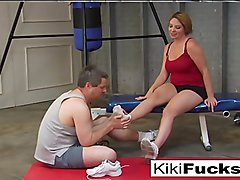 Locker room foot worship and foot job with Kiki Daire