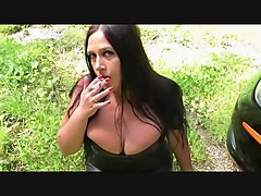 The Smoking Leather Blowjob Lady - Outdoor Blowjob Handjob with Red Nails - Fuck my Mouth - Cum on my Tits