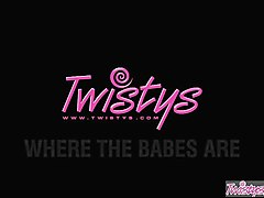 twistys - barbie white starring at a doll for