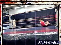 Redhead babe wrestling euro dyke