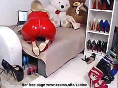 mistress red latex outfit heels bdsm feet fetish == Her free page == www.xcams.site/sabine