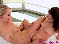 lesbian girlfriend tribbing after oral in duo