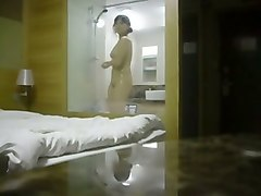 hidden cam vid of all nude asian gf washing in the open shower box