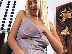 blonde anastasia shows her pink pussy!