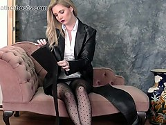 busty blonde babe upskirt in nylons and leather boots