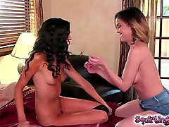 Naomi grabs Dillions pussy and start playing with her clit!